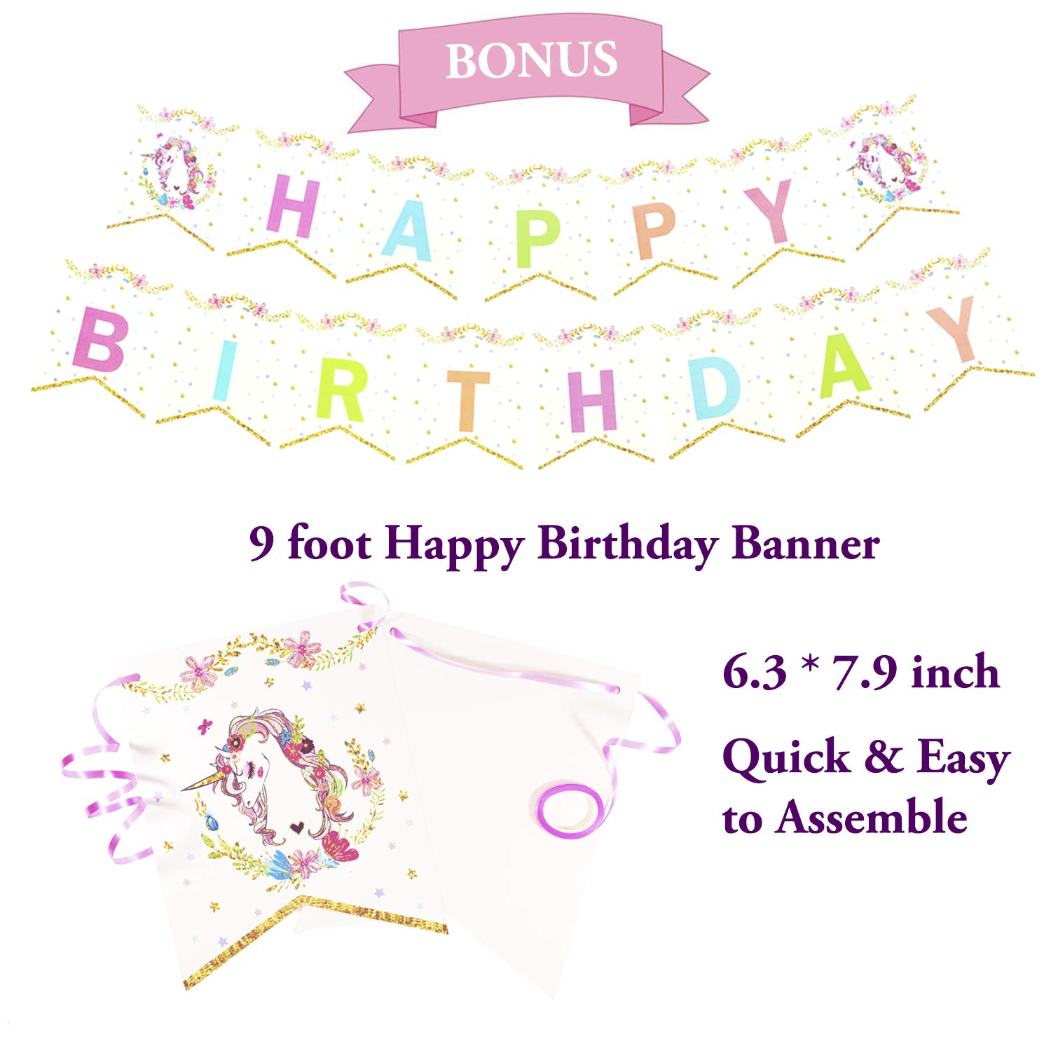 Gold Orongo Beautiful Unicorn Happy Birthday Party Supplies Pack for Girls -Serves 16 Complete Disposable Set of Decorations Item 130 Decorations Item kit Magical Day for Your Little Princess