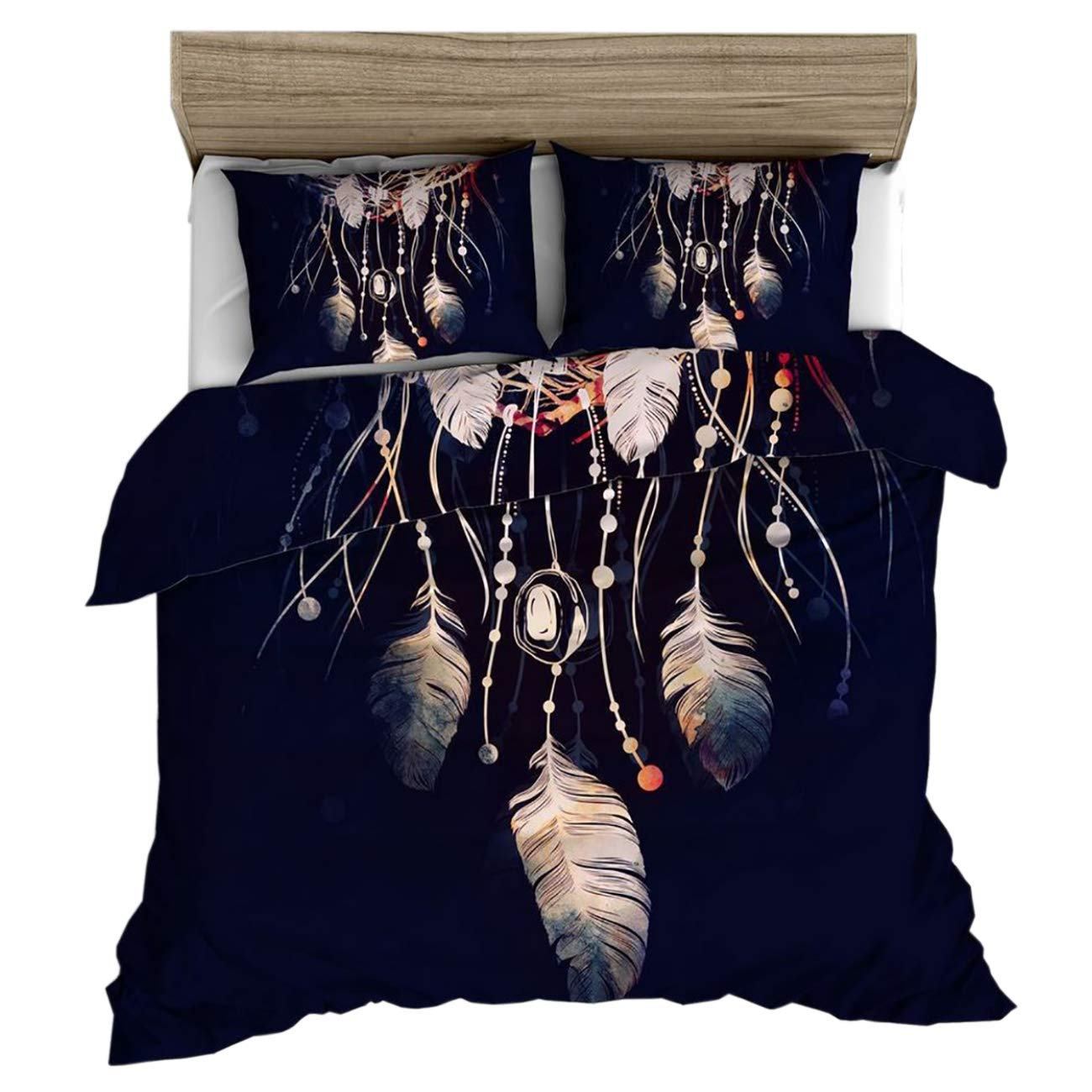 Full ShiyiUP 3D Feather Quilt Cover Bedding Duvet Cover Set with Pillow Case