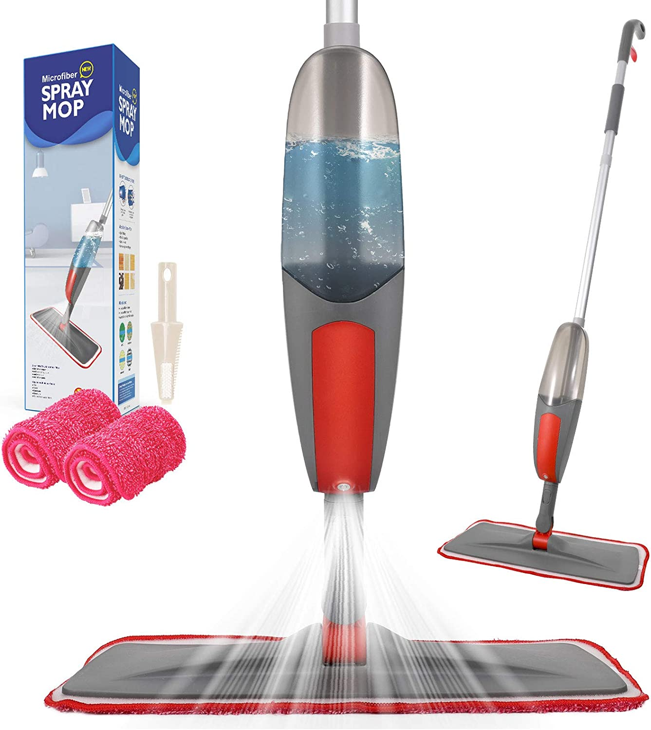 Spray Mop,Aiglam Floor Mop, 550ml Microfibre Mop with 2 Free Reusable Microfiber Pads Multi Mop with Refillable Bottle for Hardwood Floor, Wood, Laminate (Red)