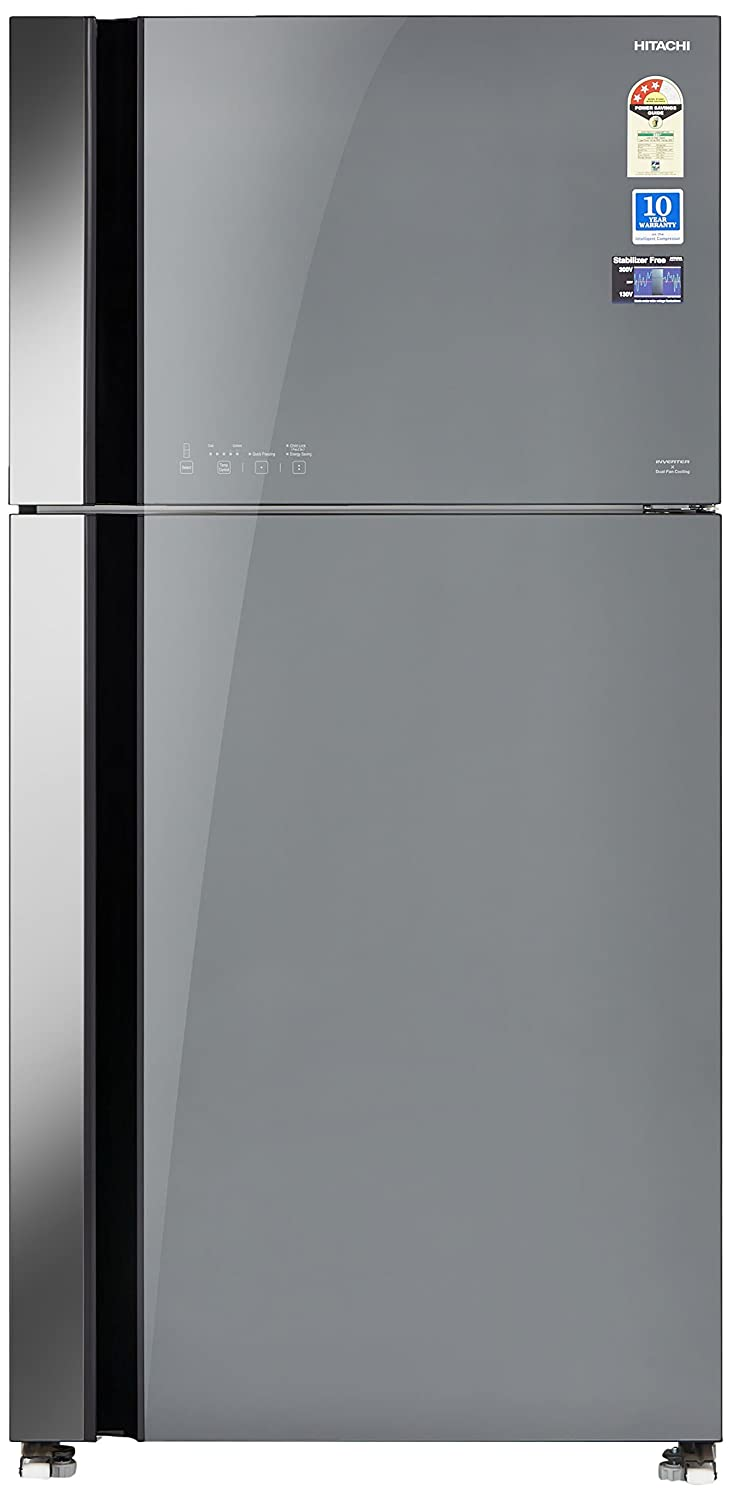 Hitachi 565l 3 Star Frost Free Double Door Refrigerator Rvg 610 Pnd3 Ggr Grey Glass Finish Inverter Compressor In Home Kitchen