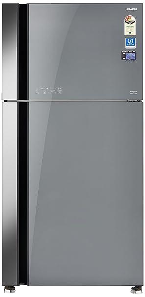 Hitachi 565 L 3 Star Frost Free Double Door Refrigerator(RVG 610 PND3 GGR, Grey, Inverter Compressor) Refrigerators at amazon