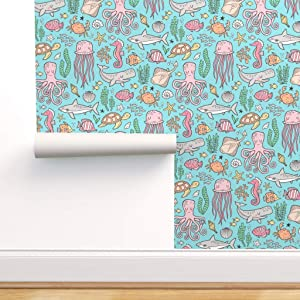 Spoonflower Pre-Pasted Removable Wallpaper, Ocean Life Sea Nautical Octopus Shark Fish Turtle Print, Water-Activated Wallpaper, 12in x 24in Test Swatch