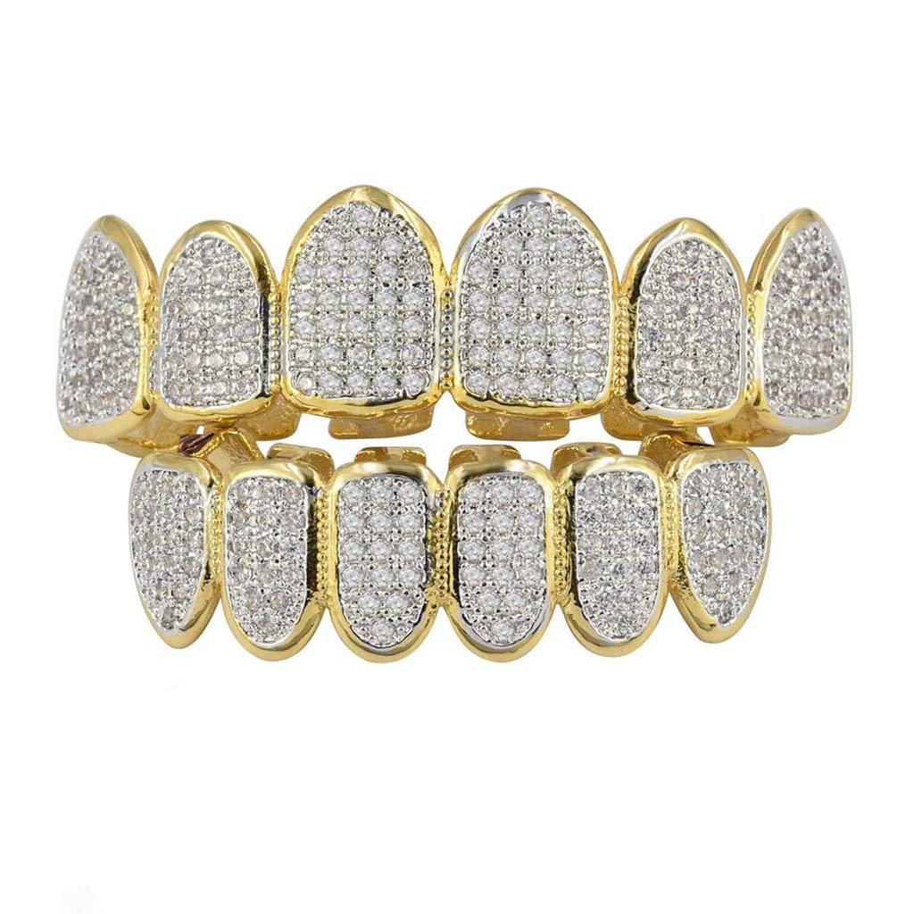 STEBCECE Hip Hop Grillz Top and Bottom Grills for Mouth Teeth 2 Extra Molding Bars (Gold)