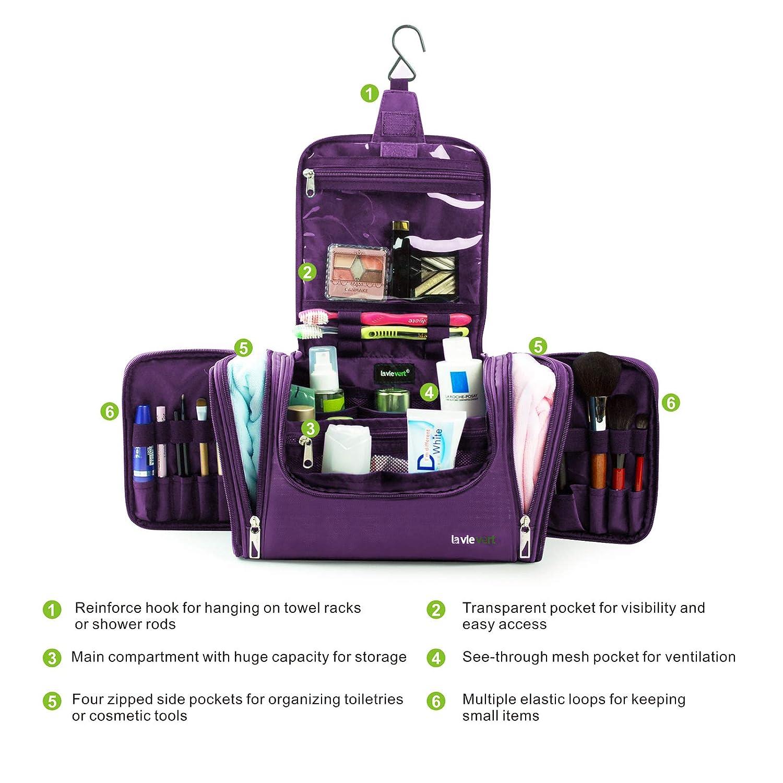 Toiletry Bag Makeup Organizer- Portable Travel Cosmetic Bag Organizer - Purple