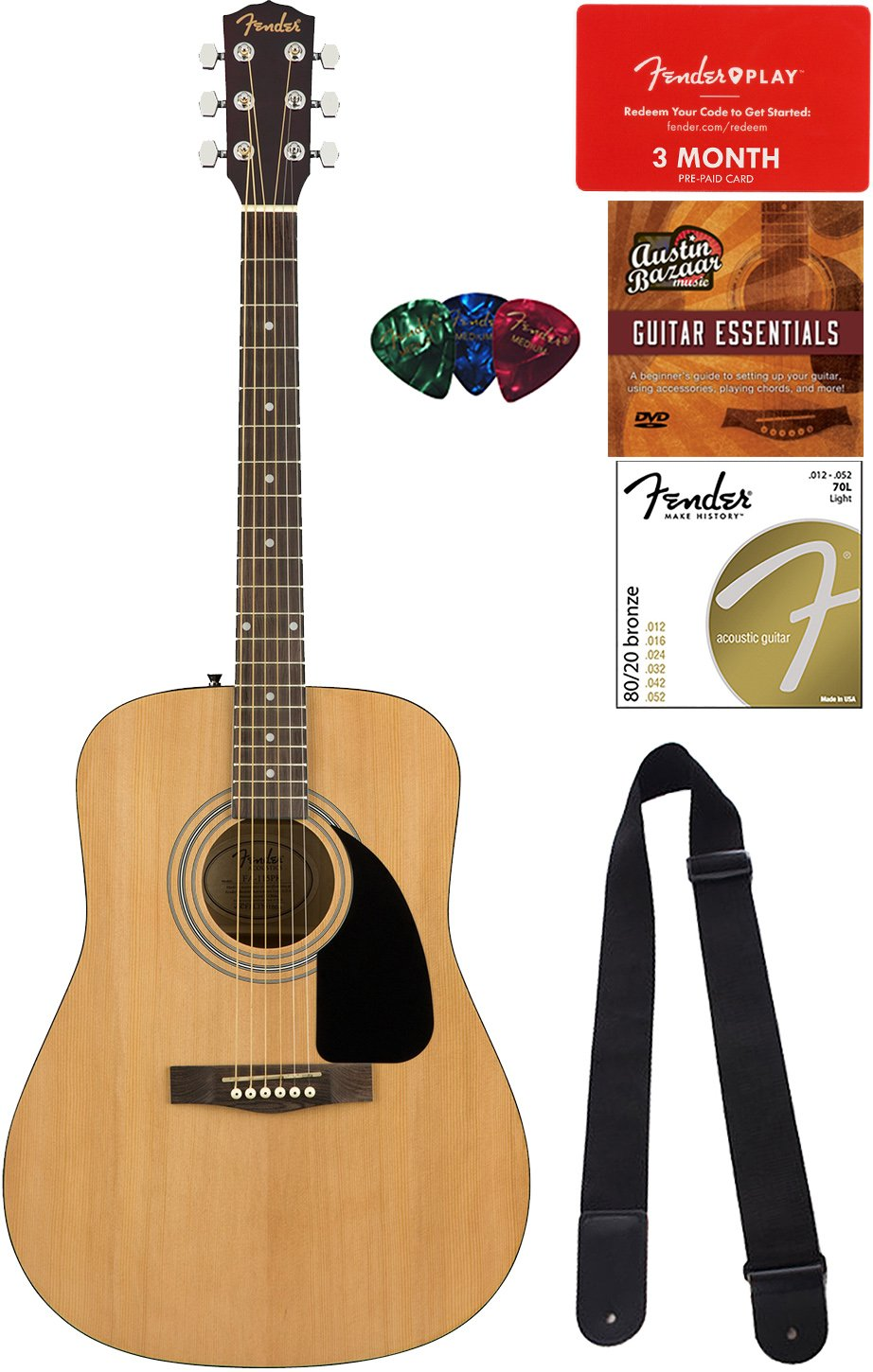 Fender FA-115 Dreadnought Acoustic Guitar - Natural Bundle with Fender Play Online Lessons, Strap, Strings, Picks and Austin Bazaar Instructional DVD by Fender