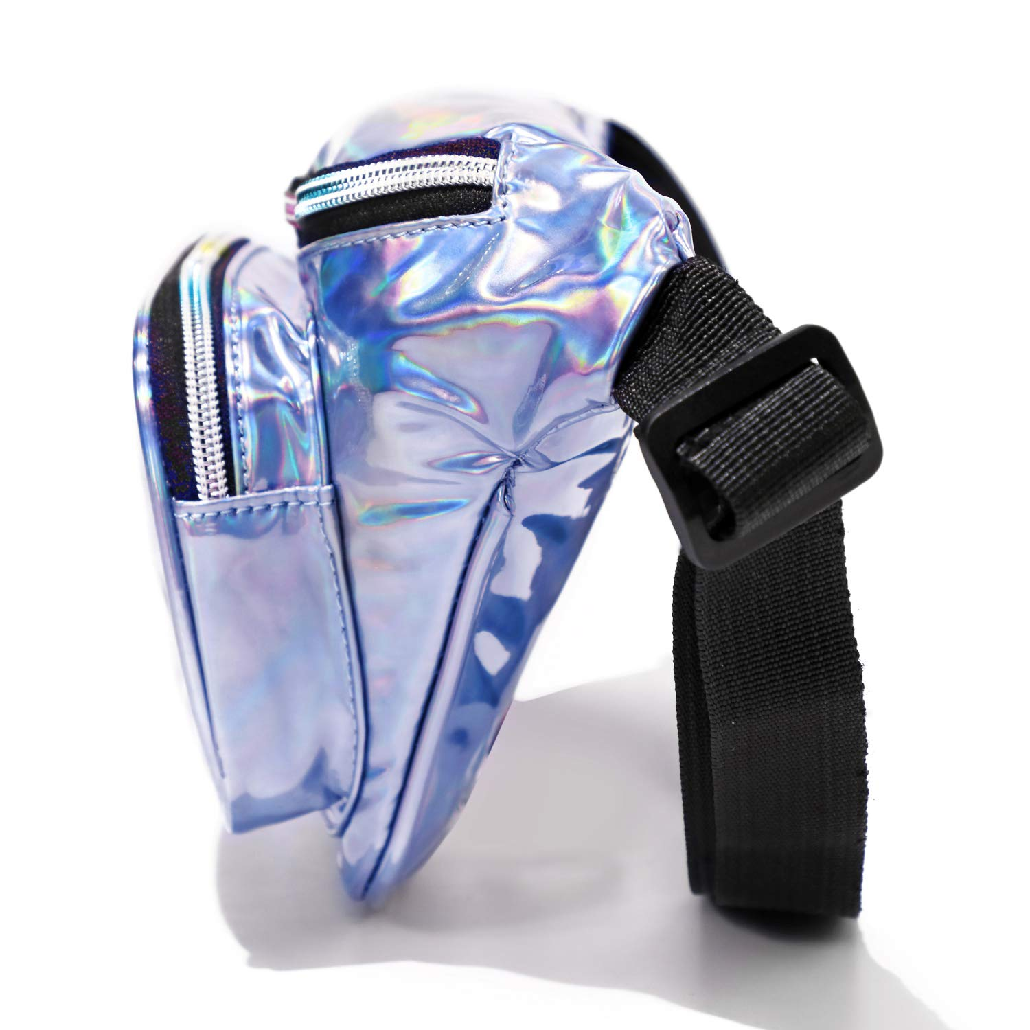 Packism Holographic Fanny Pack, Fanny Pack for Women Cute with Three Pockets Adjustable Belt Bum Bag Waist Pack for Rave, Festival, Travel, Party