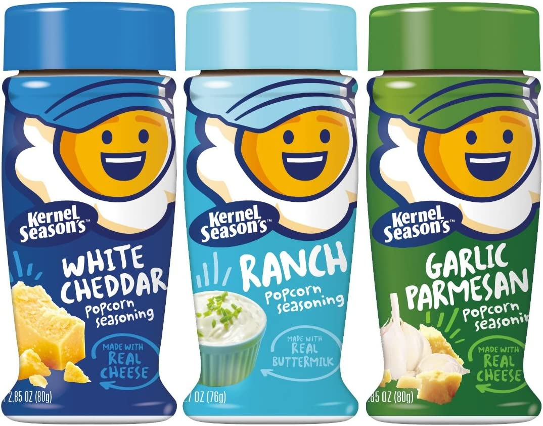 Kernel Season's Popcorn Seasoning Variety of 3, Ranch Parmesan & Garlic and White Cheddar: Health & Personal Care