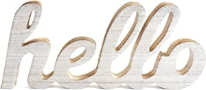 CHICVITA Wooden Letters Hello Sign Table Centerpiece White Farmhouse Decor Rustic Home Decor Inspirational Wall Art for Entryway Gallery Living Room Nursery