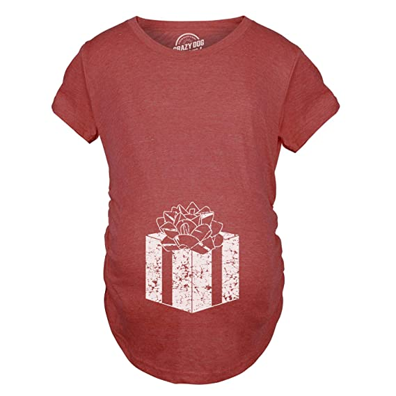 41b26128b43bd Maternity Belly Present Funny T Shirts Christmas Pregnancy Announcement T  Shirt at Amazon Women's Clothing store: