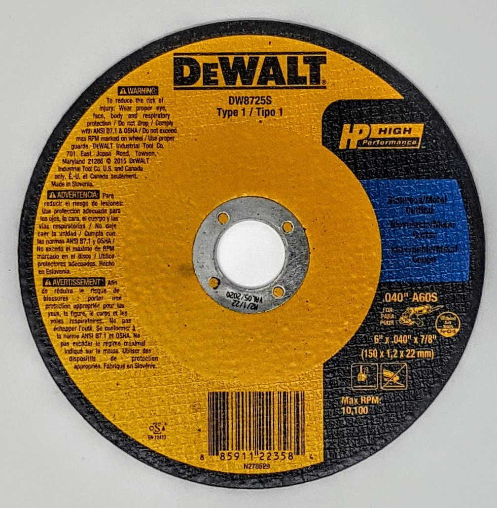 (Box of 100) Dewalt DW8725S 6''x.040''x7/8'' Type 1 Metal Cut-Off Wheels