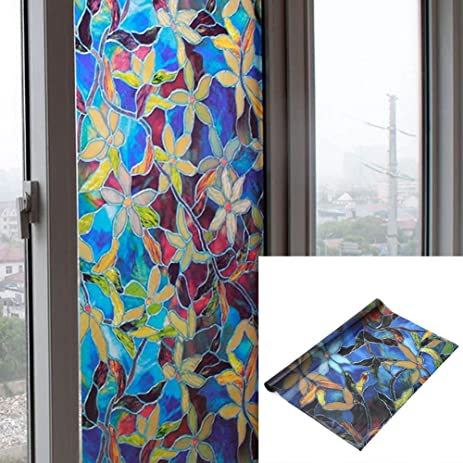 Amazoncom Selfadhesive Window Film Colorful Flower Frosted - Stained glass window stickers amazon