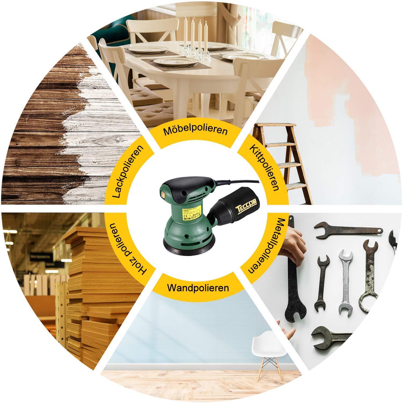 mit wiederverwendbarer Staubtasche TECCPO Exzenterschleifer zum Polieren und Entfernen von Holzfarbe 14000 OPM 12 St/ück Glaspapiere TARS22P