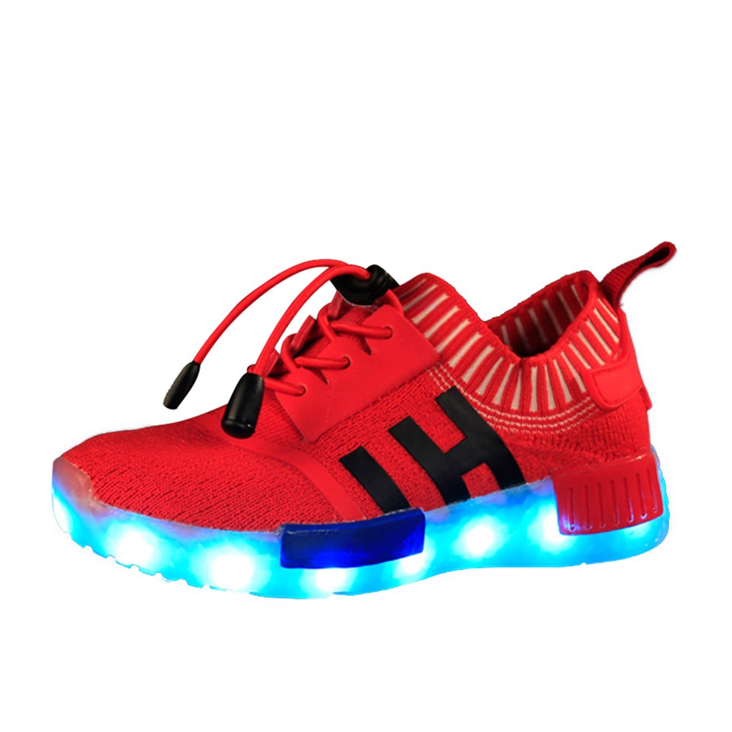 BININBOX Kids Boys Girls Mesh Breathable LED Light USB Charging Fashion Sneakers 3.5 M Big Kid, Red