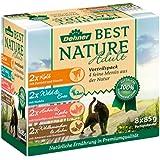 Dehner Best Nature Katzenfutter, Multipack, je 2 x Kalb, Wild, Huhn und Kaninchen, 8 x 85 g (680 g)