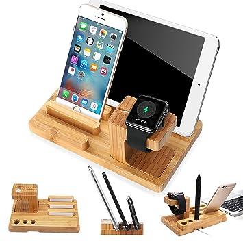 iPhone Soporte, XPhonew Bamboo Cargador Soporte de soporte de cuna para estación de acoplamiento para iPhone iPad Apple Watch 2 3 4 iWatch 42mm & 38mm ...