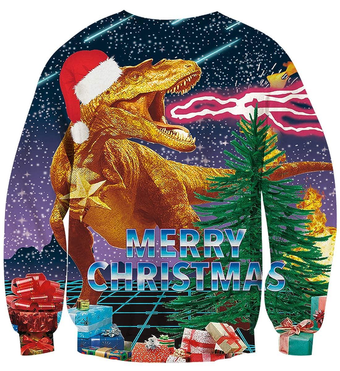 Goodstoworld Sweatshirt De No/ël 3D Imprim/é Ugly Funny Unisexe Manches Longues Pullover Xmas Jumpers S-XXL