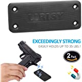 2-Pack Lirisy Gun Magnet Mount | Rubber Coated Magnetic Gun Holder Truck Car Holster Concealed for Handgun Rifle Pistol Revolver Magazine in Vehicle , Wall, Vault, Bed,Bedside, Desk with 35 lb Rating