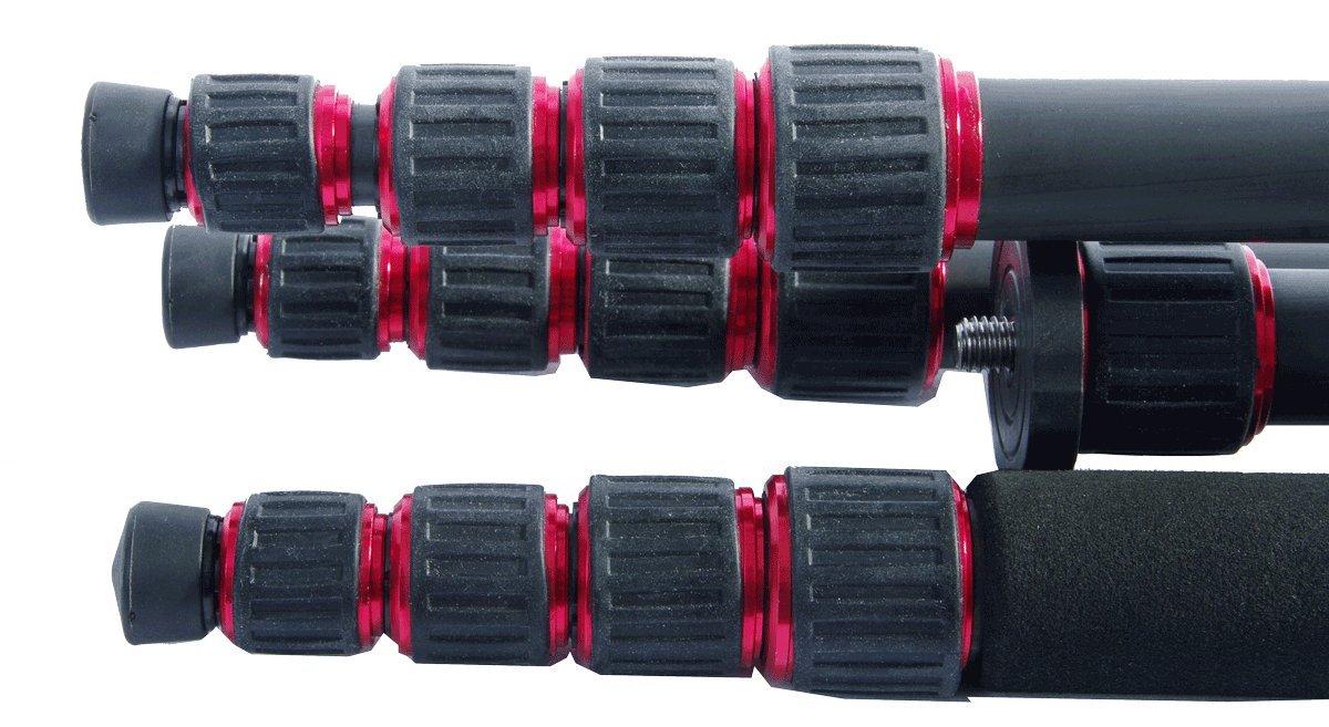 TERRA FIRMA TRIPODS T-CF500-BH200 Carbon Fiber 5 Section Tripod Leg Set with Ball Head BH200, Black/Red by TERRA FIRMA TRIPODS (Image #10)