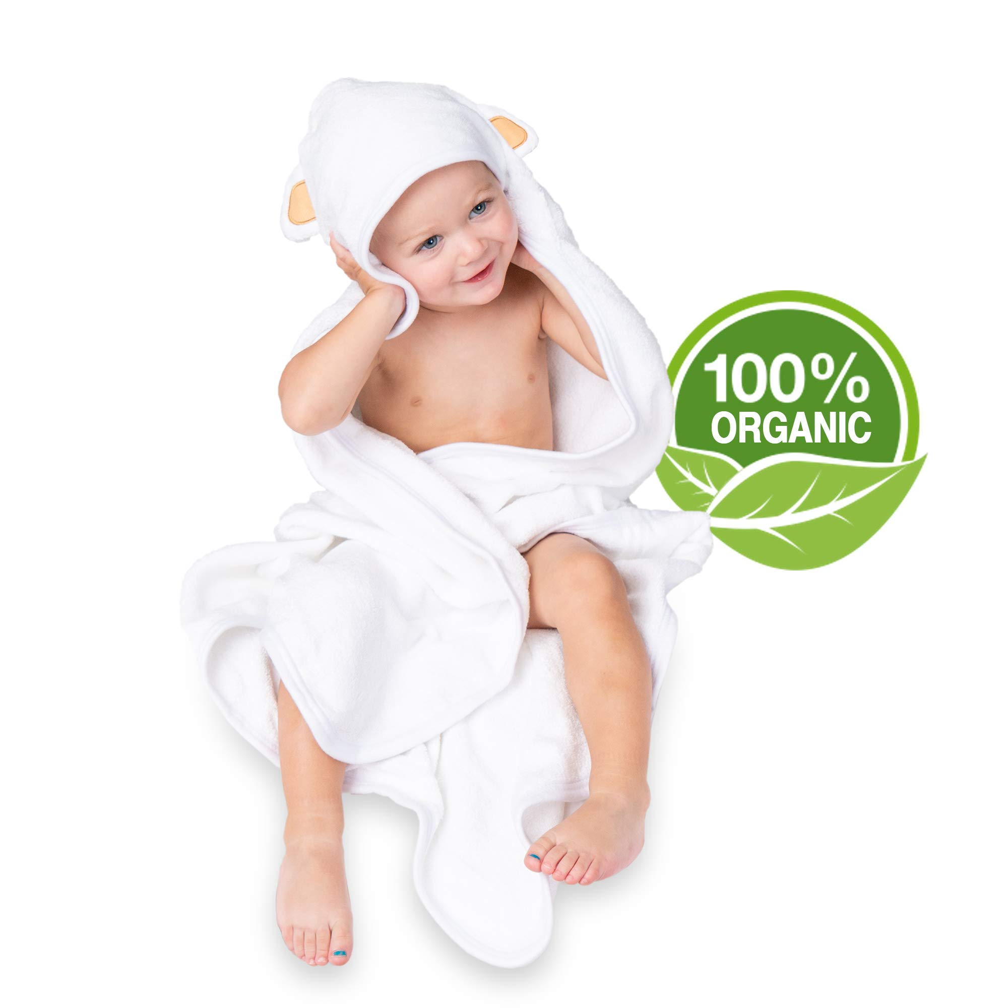 Natural Parent Organic Bamboo Hooded Baby Towel | Premium 600 GSM | Bonus Washcloths Set | Ultra Soft, 2X Thicker, 35''x35'' | Baby Hooded Towel is Perfect as a Baby Shower Gift for Boy or Girl by Natural Parent Co.