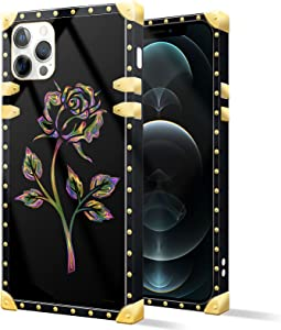 Square Case Compatible iPhone 12 Pro Max,Colorful Gold Rose Luxury Elegant Soft TPU Shockproof Protective Metal Decoration Corner Back Cover Case iPhone 12 Pro Max Case 6.7 Inch