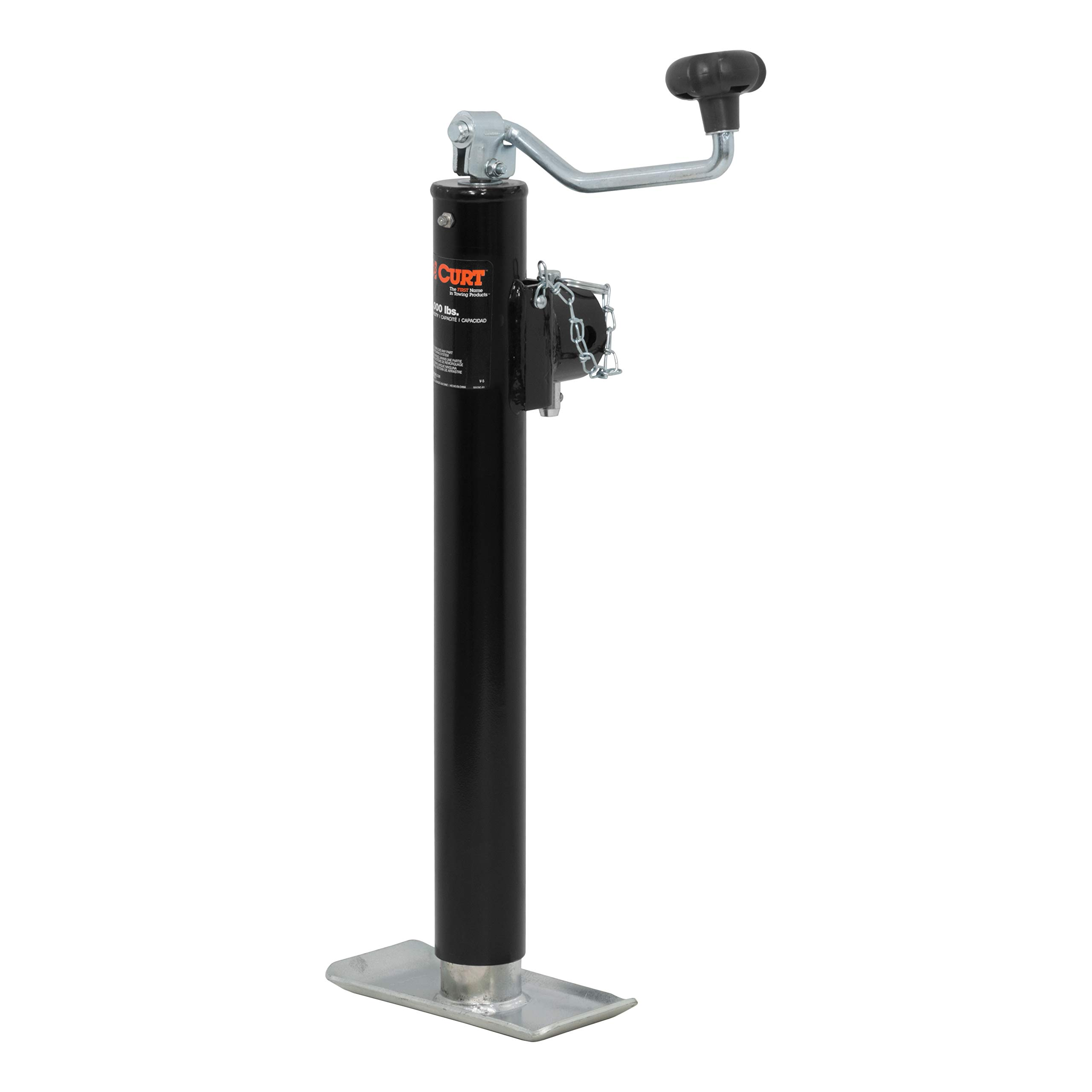 CURT 28356 Weld-On Pipe-Mount Swivel Trailer Jack 5,000 lbs, 15 Inches Vertical Travel by CURT
