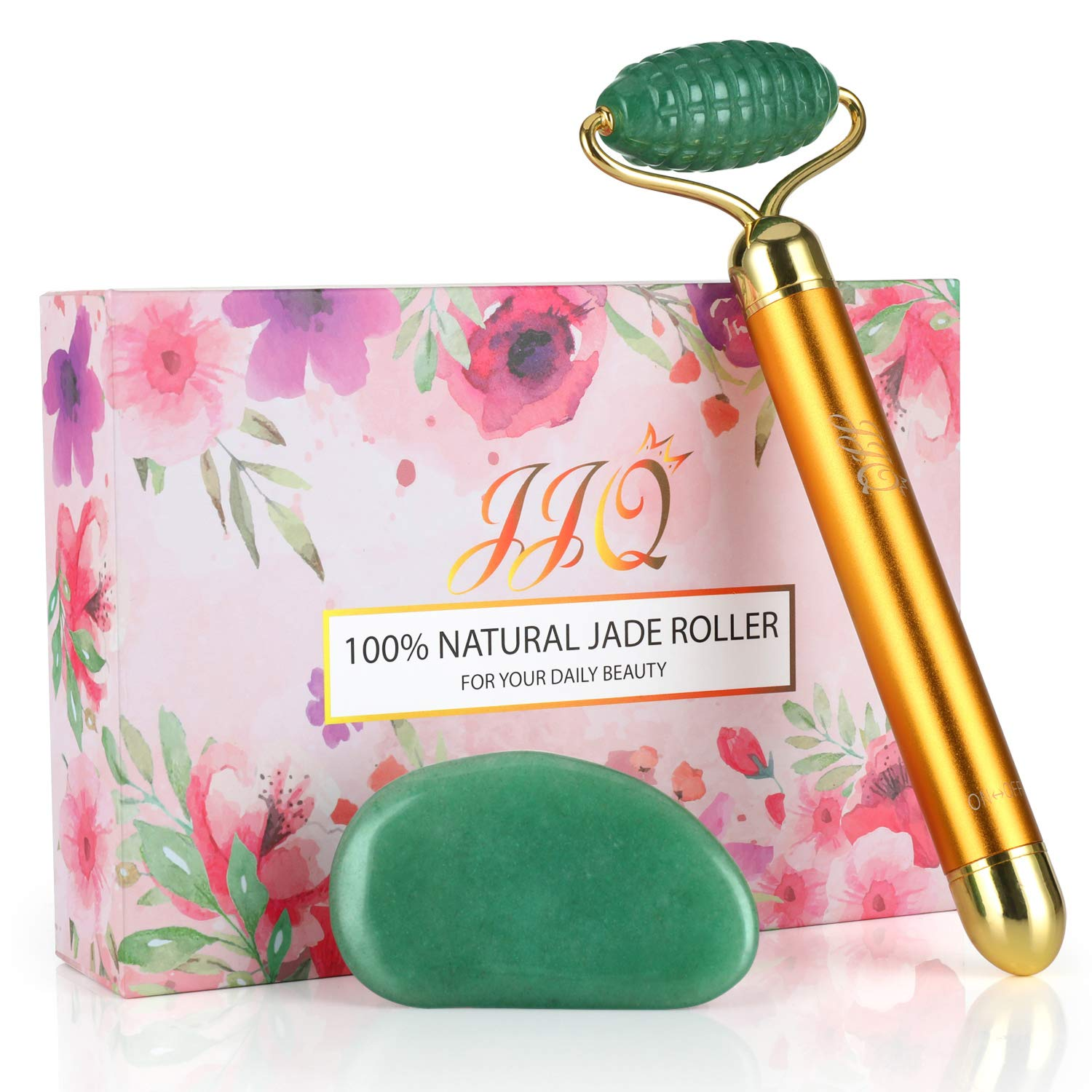 Electric 3D Jade Roller for Face and Gua Sha Set, IIQ Natural Jade Stone Skin/Face Massager Tool for Anti Aging,Eye Puffiness Wrinkles,Skincare Massage Tools for Face Eyes Neck Back by IIQ