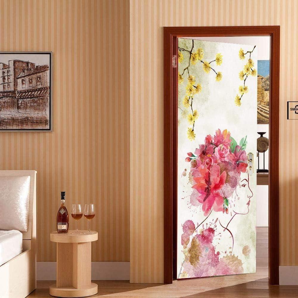 Pegatinas de puerta 3D Hermosa mujer Decoración Mural Patrón Eco-Friendly Cover Wall Stickers (77X200Cm): Amazon.es: Bricolaje y herramientas