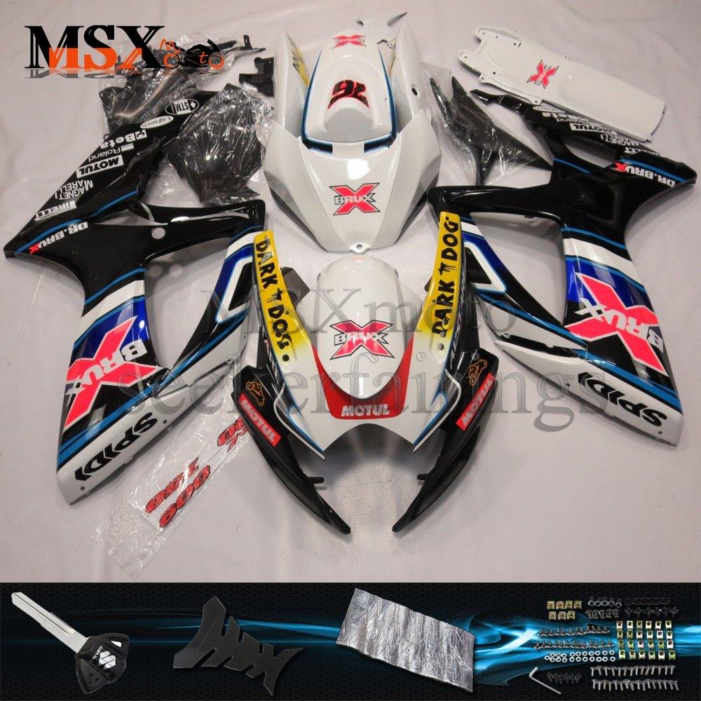 MSX-moto 適応ホンダ Suzuki GSXR600 GSXR750 K6 GSX-R600 GSX-R750 06 07 GSXR 2006 2007年 小R 外装パーツセット ABS射出成型完全なオートバイ車体 フルカラーのボディ   B07F2CFR1N