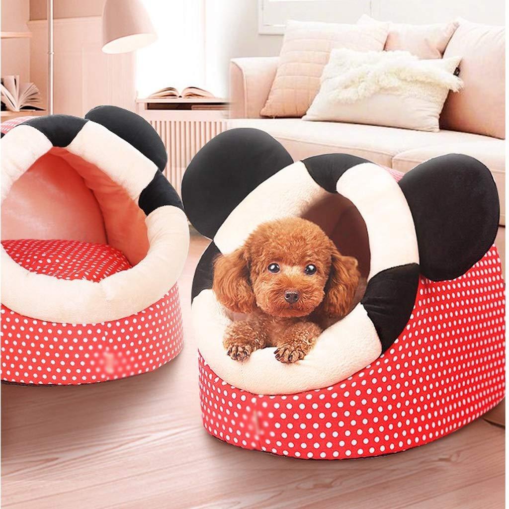 KYCD Caseta para Perro, Yurt de Invierno, Cerrada, para Dormir, para Perros y Gatos, cálida, para Interiores, Lavable, extraíble (Color: Rojo, ...