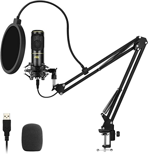 NLL USB Microphone kit 192 kHZ/24bit, Streaming Podcast PC Condenser Computer Mic with Adjustable Boom Arm, Pop Filter and Shock Mount, for Gaming, YouTube Video, Recording, Voice Over NC-011