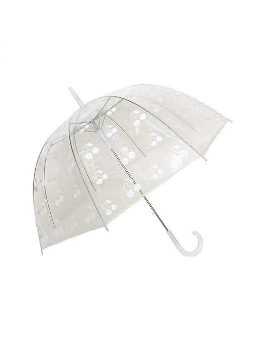 SMATI Paraguas largo transparente forma de campana Cereza - Automático (Blanco)