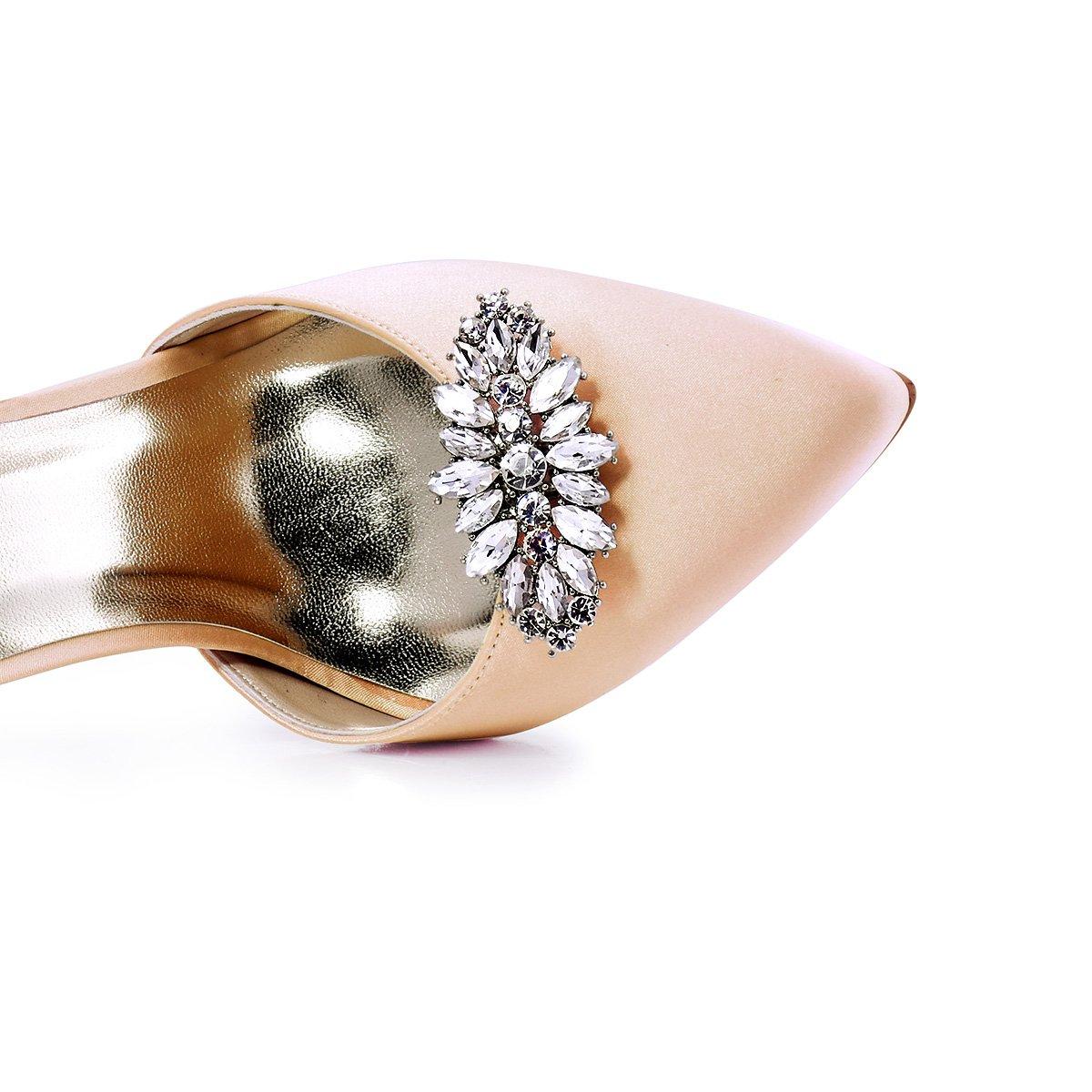 ElegantPark AW Women's Leaf Design Rhinestones Crystal Clutch Dress Hat Shoe Clips Silver 2 Pcs by ElegantPark (Image #5)