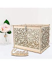 Aparty4u Caja de madera para tarjetas de boda con cierre, colección de cajas de regalo
