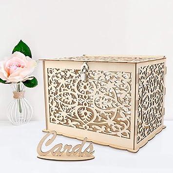 TBhappy - Caja de tarjetas de boda rústica hueca de madera con ...