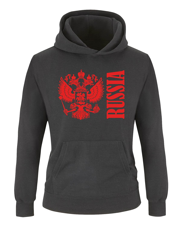 Kapuze Russia mit Wappen K/ängurutasche Langarm Jungen Hoodie Comedy Shirts Print-Pulli