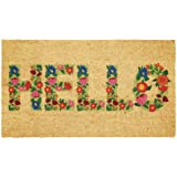 mDesign Rectangular Coir and Rubber Entryway Welcome Doormat with Natural Fibers for Indoor or Outdoor Use - Decorative Scrip