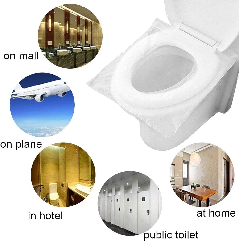 Protector WC Inodoro Cubre Asiento Fundas Desechable Impermeable Cubre Inodoro 50 Pcs Paquete Individual Talla Universal
