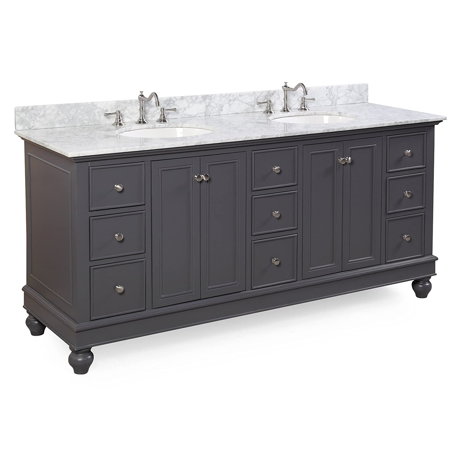 Bella 72-inch Bathroom Vanity Carrara Charcoal Gray Includes Charcoal Gray Cabinet with Soft Close Drawers, Authentic Italian Carrara Marble Countertop, and Two Ceramic Sinks