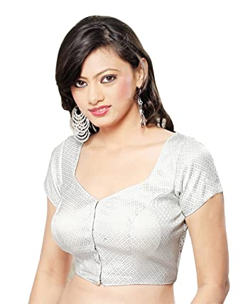 788cddb8d84105 Amazon.com  Brocade Silver Sari Saree Blouse Choli Latest Style Bollywood  Sari Top 81  Clothing