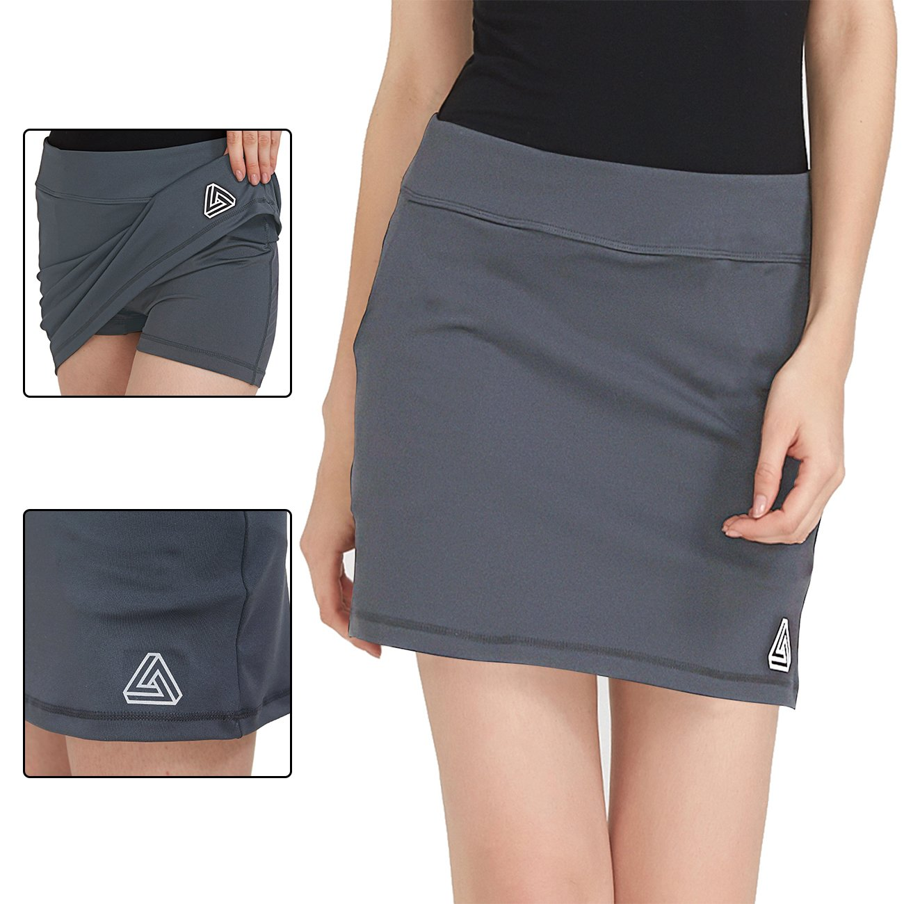DOMICARE Women Active Athletic Skorts with Pockets - Lightweight Quick Dry Skirt with Short for Workout Sports, XL, Grey