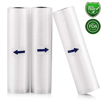Rollo Envasado Vacío, 3 Rollos Bolsas de vacío 20x500cm de Grado Comercial para el Ahorrador de Alimentos y Sous Vide Cocina, Aprobación de la FDA y ...