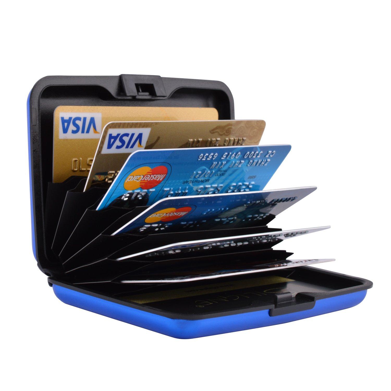 MaxGear RFIDブロックウォレット クレジットカードホルダー クレジットカード財布 本革ウォレット B075CXYYX6 Luggage-card-case-matte-blue Luggage-card-case-matte-blue