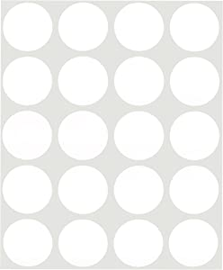 ChromaLabel 1 Inch Round Removable Color-Code Dot Stickers, 1000 Pack, 20 Labels per Sheet, White
