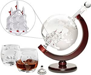 Large 50 Oz Handmade Etched Globe Decanter Set with Wooden Stand and Glass Ship inside, for Wine, Whiskey, Brandy, Tequila, Bourbon, Scotch, Rum and Liquor (with Glasses and Funnel)
