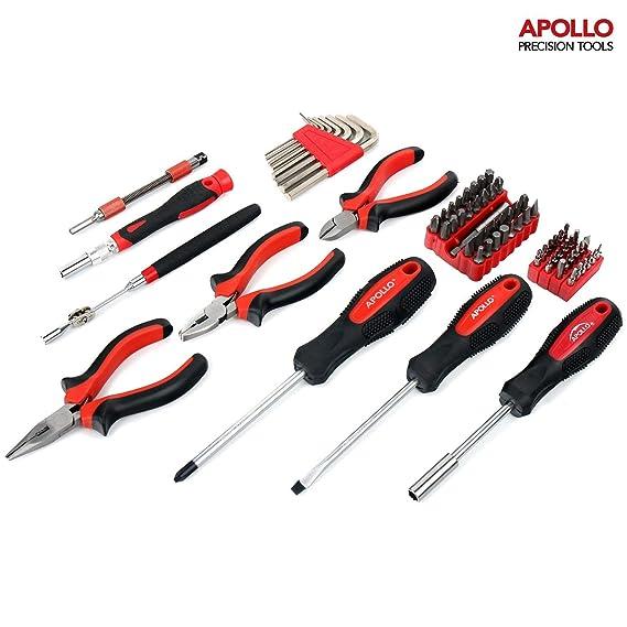 Apollo Maletín de herramientas de 74 piezas para dispositivos electrónicos y ordenadores (set de 3 alicates, varias puntas 444 unidades regulares y ...