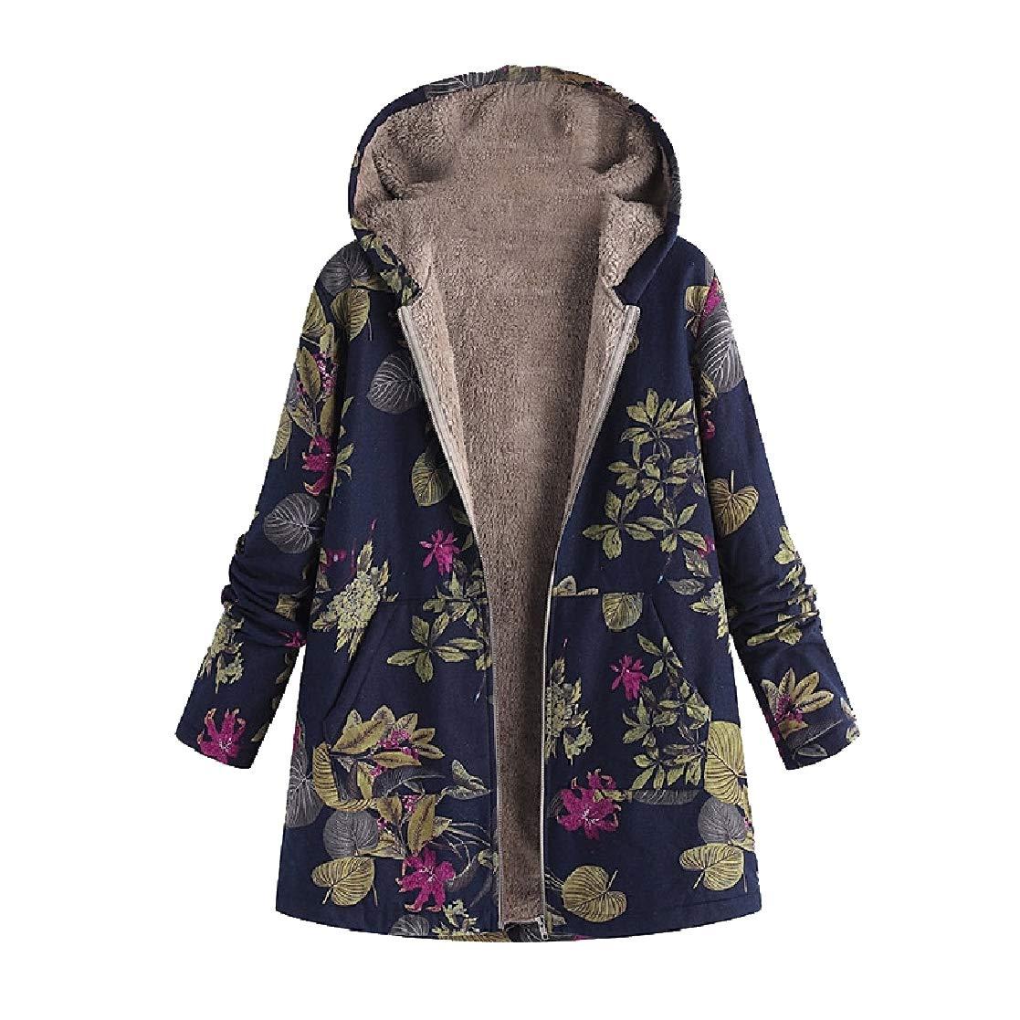 YUNY Women Baggy Floral Tribal with Hoodie Warm Linen Duffle Coat Dark Blue S