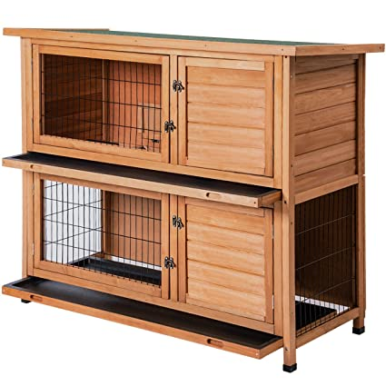 Amazon Com Merax Rabbit Hutch Wooden House Wooden Cage For Small