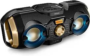 Phillips Bluetooth Boombox Speaker - Rugged, Portable, Wireless Radio, USB, AUX, and CD Music Player - 50 Watt, Dynamic Bass, Digital Display, Light Up Speaker - Model PX840T