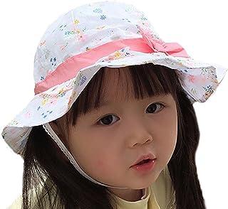 Tyidalin Chapeau de Soleil Bébé Fille Anti UV Plage Voyage Bonnet en Coton à Fleur Floral Printemps Eté pour Enfant 0-6 Ans Rose XL - Circonference Chapeau 52cm 3-6 ans X-Large