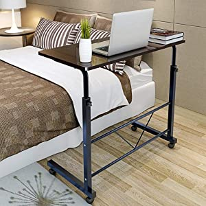 SSLine Magazine Snack Table on Wheels Sofa Couch Side Coffee Table TV Trays Rolling Laptop Computer Desk C-Shaped Mobile Chair Bed Side End Table for Living Room Bedroom(31.5L x 15.75W x 26.77-34H)